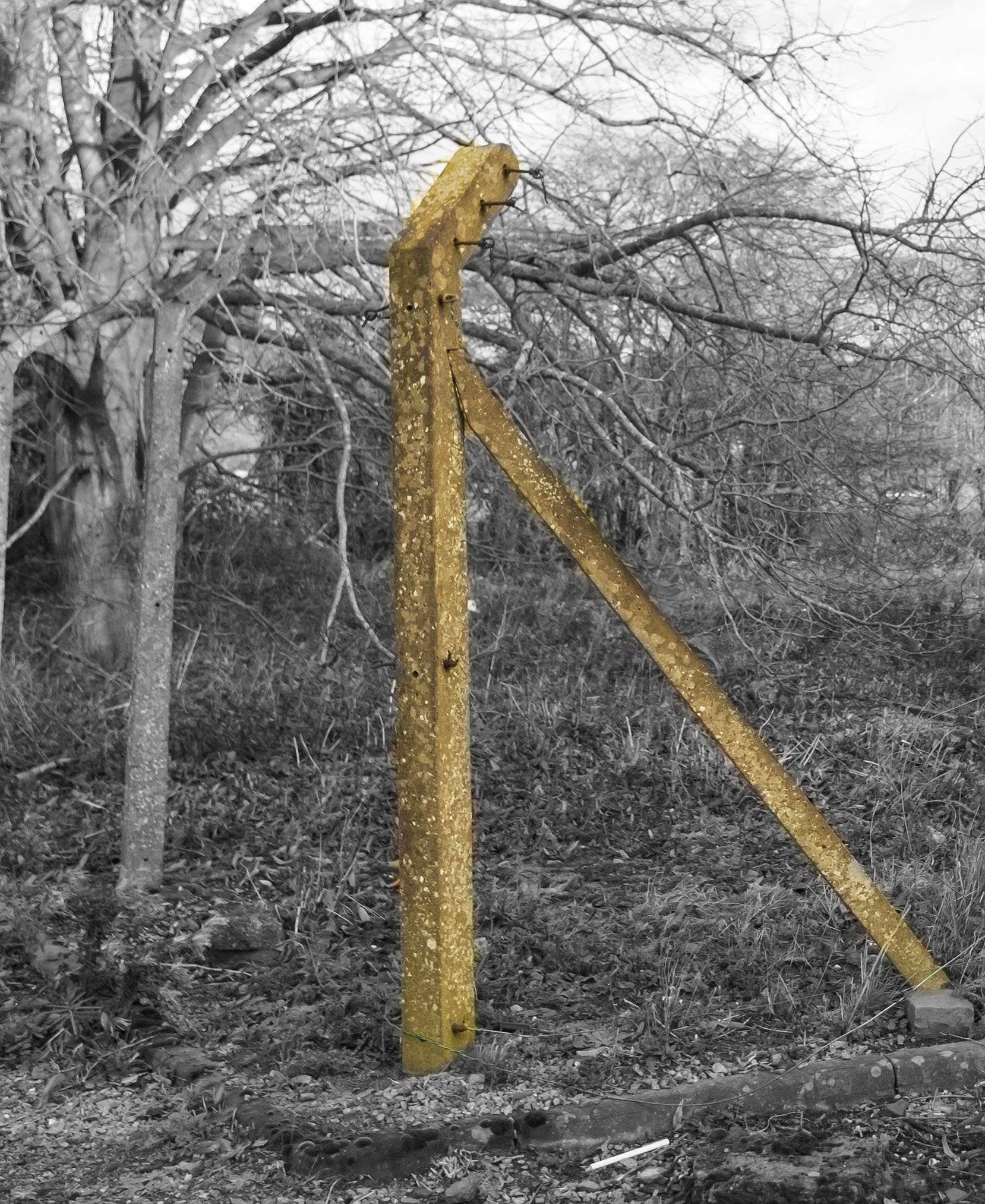 Remains of former Prisoner Of War (POW) camp at Billesdon in Leicestershire. The Camp Buildings have gone but the fences remain
